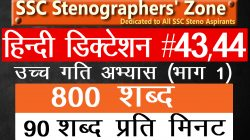 90 wpm Hindi steno dictation #43&44 800 words for SSC Steno, High Court